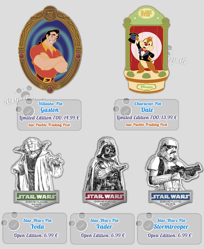 Villain Gaston und Chap / Dale mit großem Auftritt, dazu Star Wars mit Yoda, Darth Vader und einem Sturmtruppler