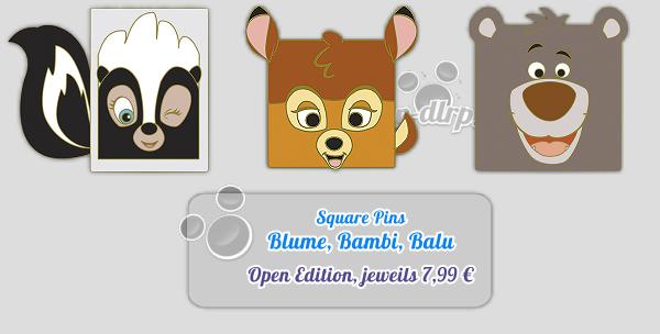 Blume, Bambi und Balu als Square Pins erscheinen am 4. Juli im Disneyland Paris