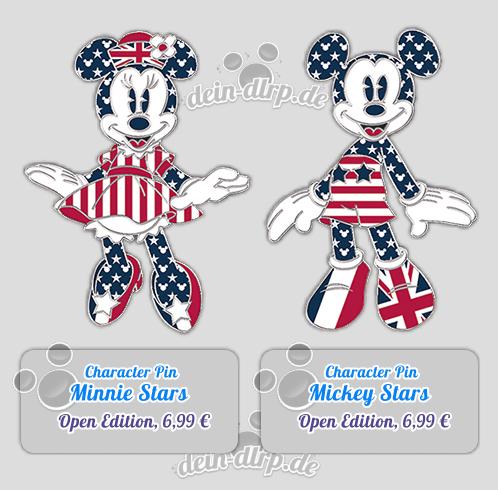 Mickey & Minnie Pins im Stars n Stripes Look
