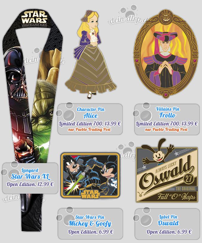 Bunte Mischung: Star Wars, Prinzessinnen, Oswald - die Pins im Disneyland Paris am 23. Mai!