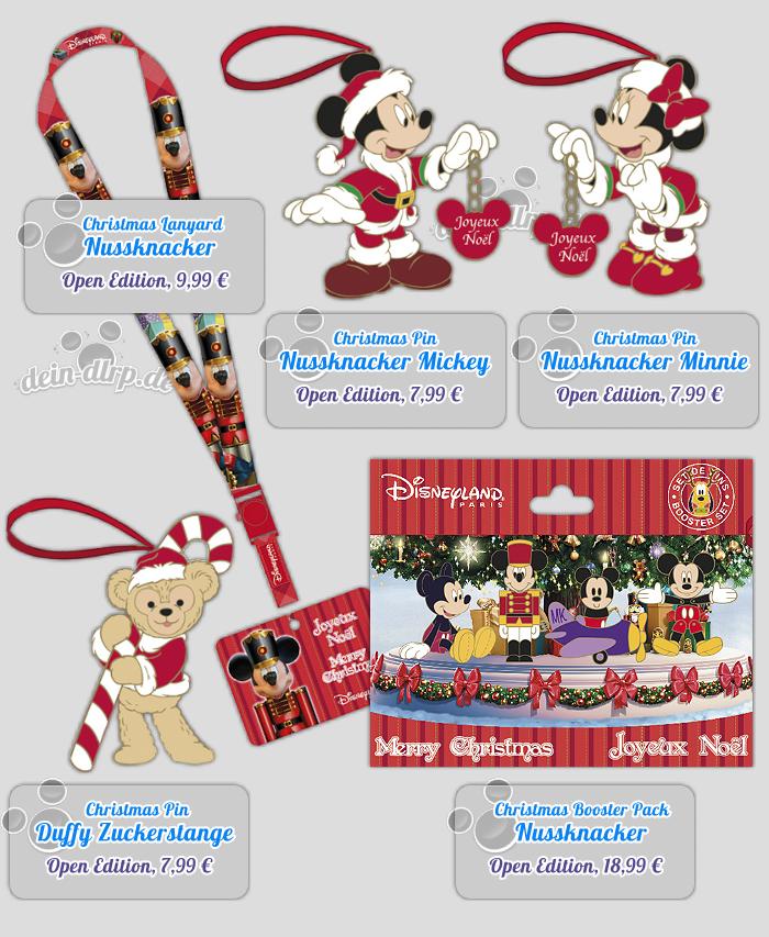 Mickey & Minnie als Nussknacker, dazu passendes Pin Booster Pack & Lanyard leiten zusammen mit Duffy und seiner Zuckerstange Weihnachten ein