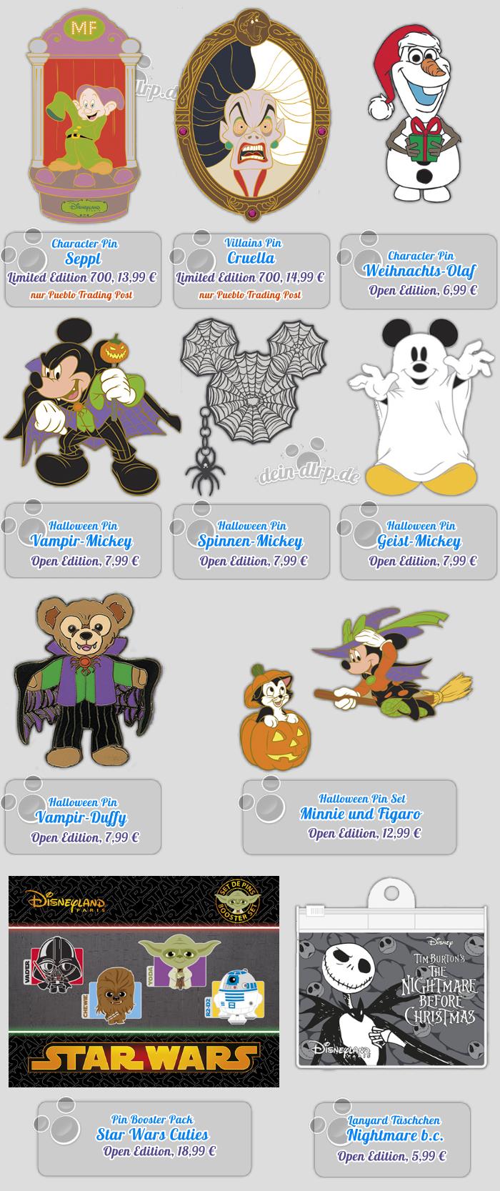 Star Wars Cuties, Mickey in diversen Halloween-Varianten, Cruella de Ville, Seppl und Olaf gibt es heute als Pins