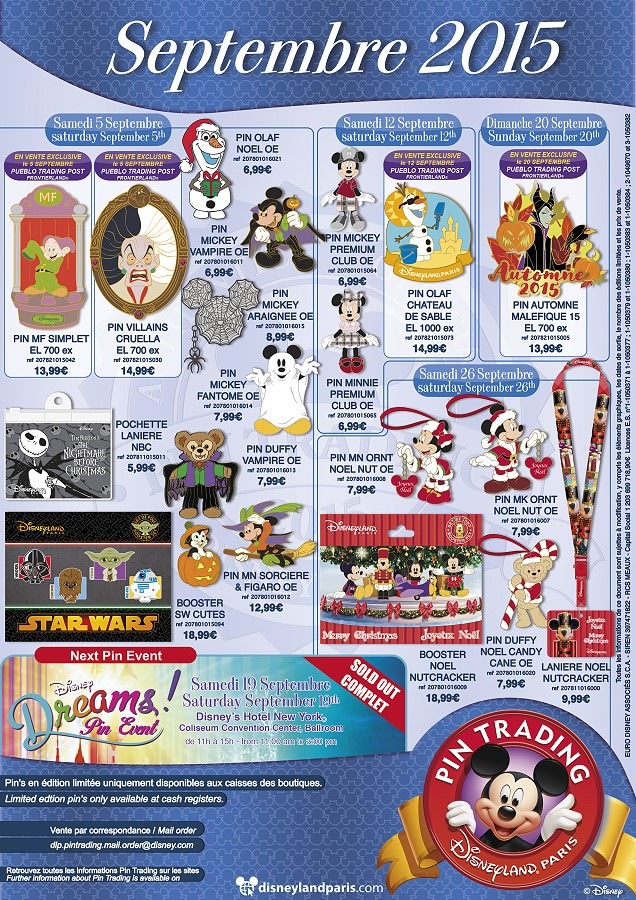 Disney Pin Trading Kollektion Septemebr 2015