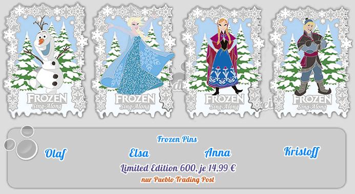 Olaf, Elsa, Anna, Kristoff aus Frozen als limitierte Pins am 12.11.