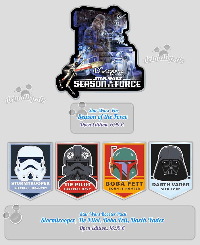 Neue Star Wars Pins am 14.1.2017 im Disneyland: Season of the Force, Stormtrooper, Boba Fett, Darth Vader