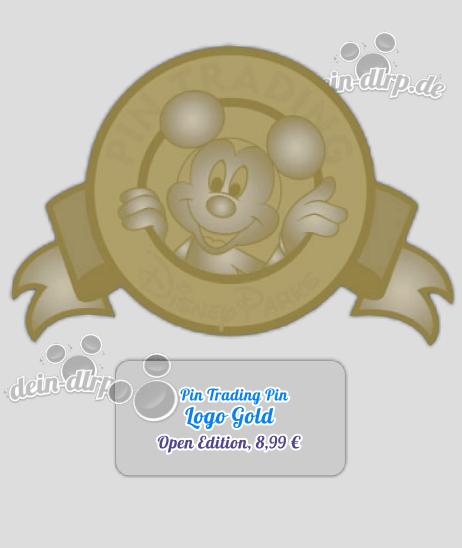 Das Disney Parks Pin Trading Logo in Gold