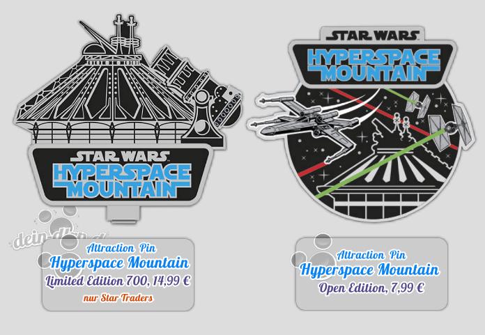 Ein limitierter und ein unlimitierter Pin zur Wiedereröffnung von Hyperspace Mountain im Disneyland Paris