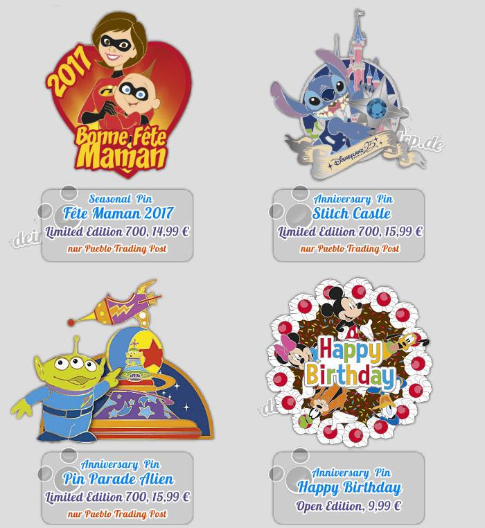 Fête Maman, Stitch, Pin Parade mit Alien und Happy Birthday Pins