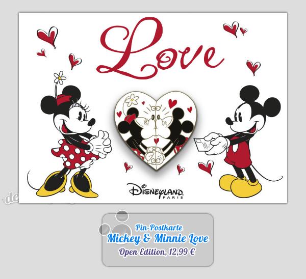 Zum Valentinstag: Postkarte & Pin Mickey und Minnie Love