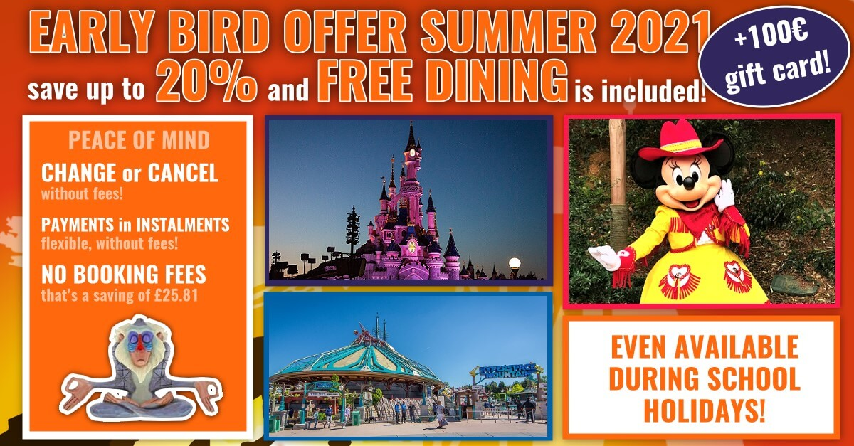 Early Booking Offer Summer 2021 for Disneyland Paris: 20% discount, free dining & 100€ spending money