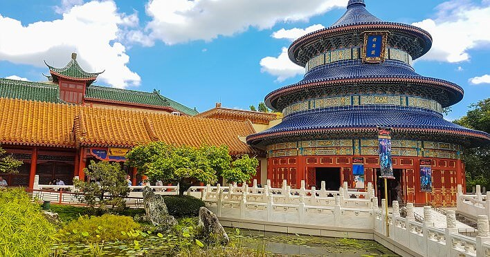 China in Epcot mit Halle des Erntegebetes und House of the Whispering Willows