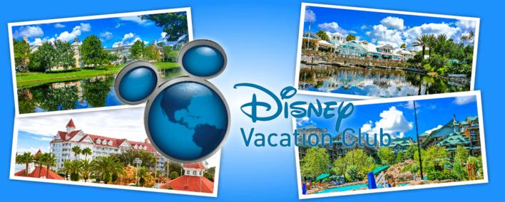 Der Disney Vacation Club inkl. Logo und Bildern aus 4 DVC Resorts