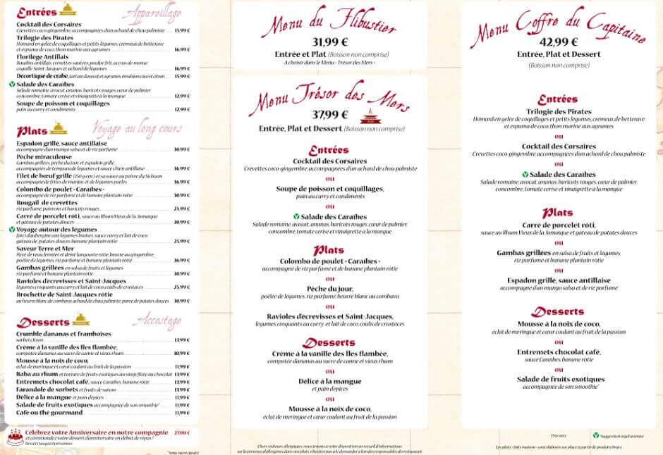 Die komplette Speisekarte des Blue Lagoon inkl. Menüs, Getränken und Preisen