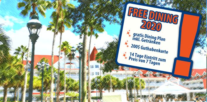 Free Dining 2020 - Walt Disney World Sonderangebot mit gratis Halbpension, 200$ Gutschein