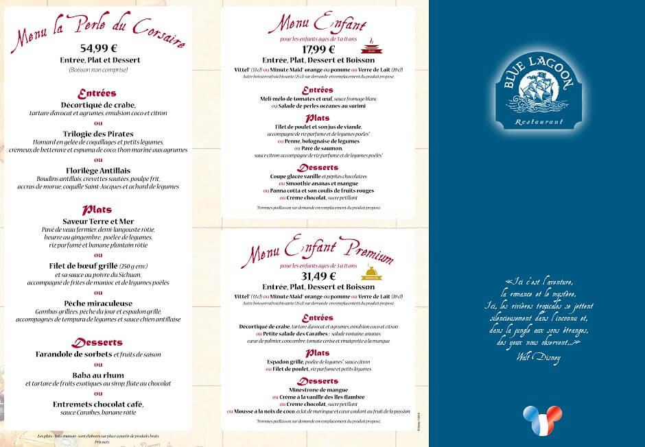 Premium-Menüs für Erwachsene und Kinder im Restaurant Blue Lagoon