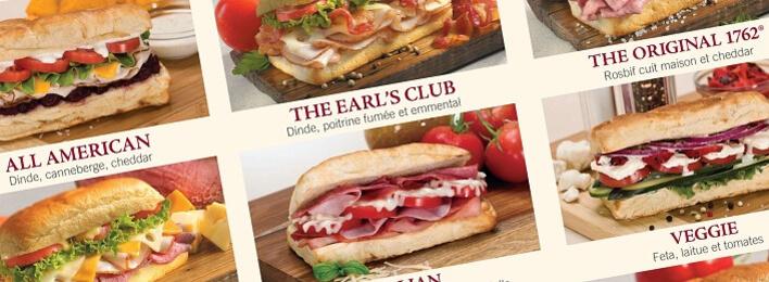 Speisekarte & Preise für Subs/Sandwiches, Salate, Wraps, Pasta und Menüs im Earl of Sandwich