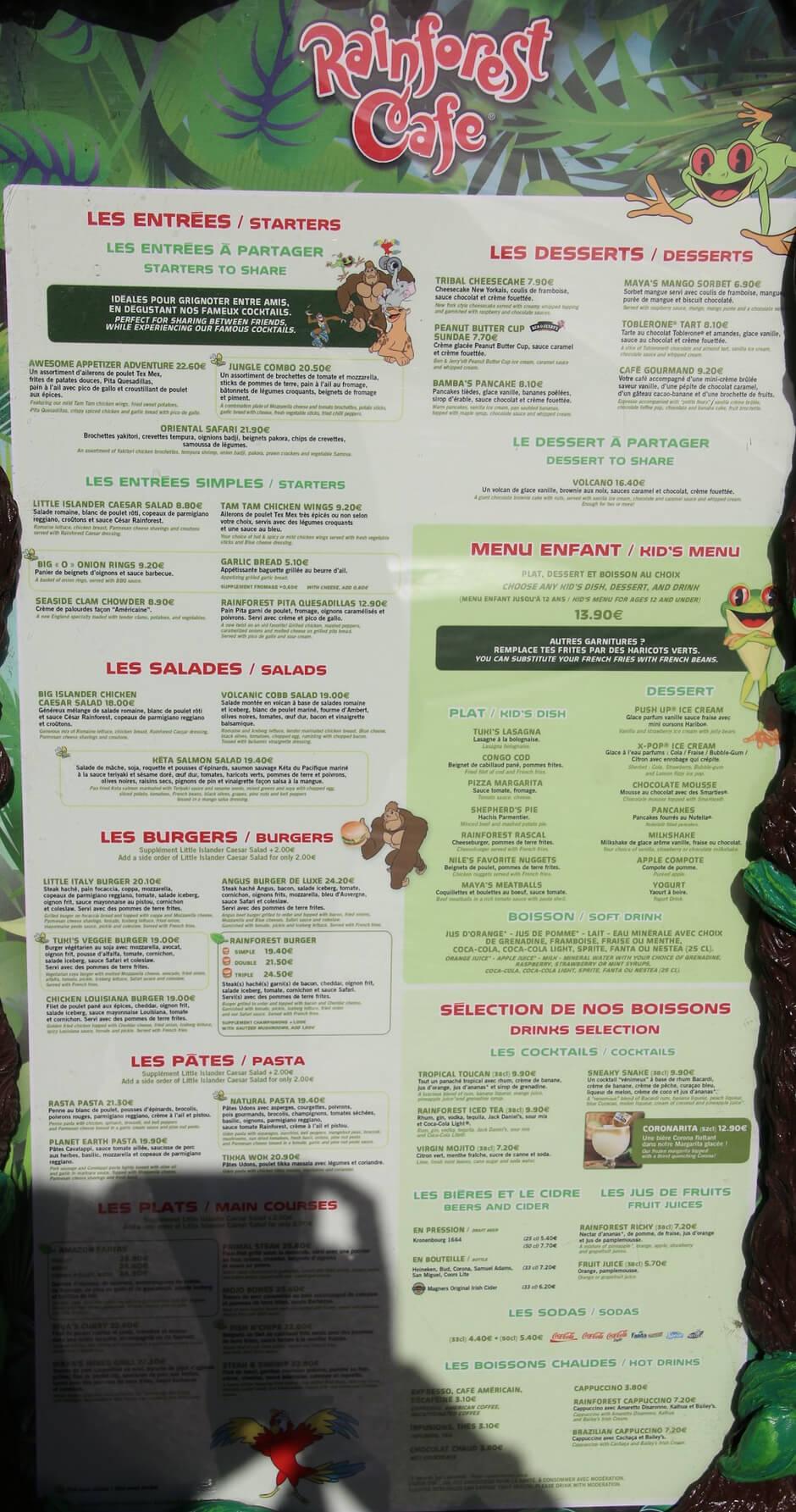 Speisekarte und Preise des Reainforest Café im Disney Village des Disneyland Paris