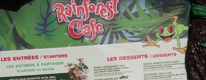 Teaser-Bild der Speisekarte des Rainforest Café im Disney Village