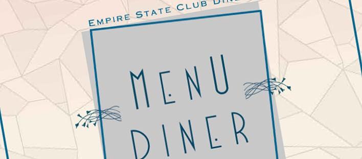 Teaser der Titelseite der Empire State Club Speisekarte