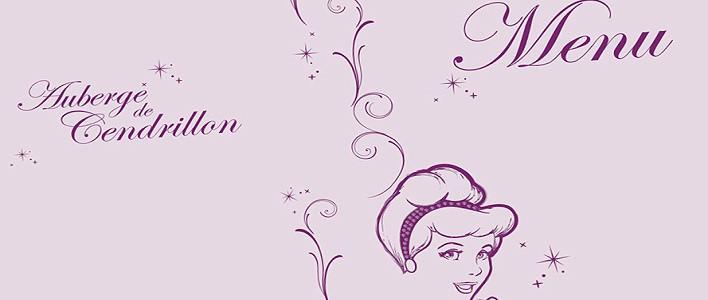 Teaser zur Speisekarte für die Menus des Essens mit den Disney-Prinzessinnen in der Auberge de Cendrillon