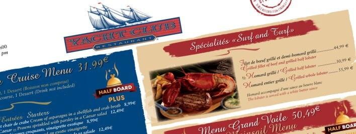 Teaser zur Yacht Club Speisekarte