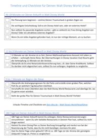 Walt Disney World Timeline und Checkliste als pdf